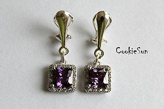 Náušnice - Klipsne Square Purple - 6161412_