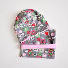 Detské súpravy - nákrčník obrázky ružové - 6158279_