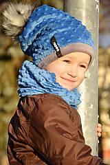 Detské súpravy - zimná súprava s menom a odopínacím brmbolcom Royal Blue ..alebo farbu si vyber! - 6161966_