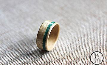 Prstene - Drevený prsteň Javor & Malachit kruh - 6161087_
