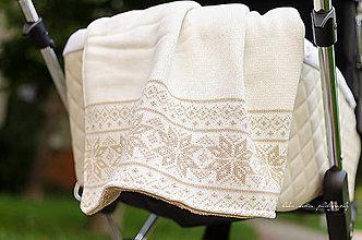Textil - Zimná Detská Deka/Nórsky vzor/TEX®/80 x 110/smotanovo-krémová - 6163936_