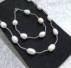 Sady šperkov - Strieborná súprava z riečnych perál - 6164199_