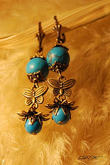 Náušnice - lotos - tyrkys II - 6162223_