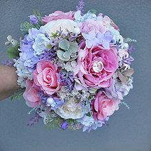 Kytice pre nevestu - Zimná svadobná kytica ružovo-fialková - 6169816_