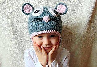 Detské čiapky - Plyšová myška :) - 6167693_