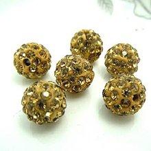 Korálky - Shamballa korálky - zlatohnedé 10 mm - 6169111_