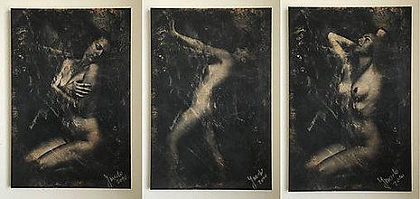 Fotografie - Umelecká fotografia akt Fibre gold triptych B1 - 6168019_