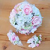 Svadobná kytica+ štvrťvenček-Trblietavá ružovo-biela v páperí