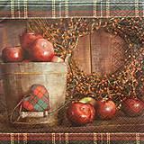 Papier - S548 - Servítky - jablká, prútený veniec, káro - 6172038_