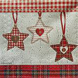 Papier - S551 - Servítky - hviezdy, káro, vianoce - 6172071_