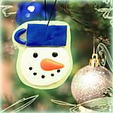 - Svietiaca vianočná dekorácia - snehuliačik - 6174256_