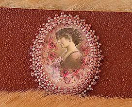 Náramky - Náramok kožený  s vintage motívom - 6171135_