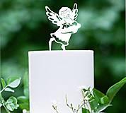 Detské doplnky - ozdoba na tortu: anjel s bábätkom - 6176744_