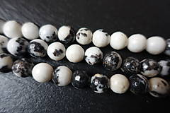 Minerály - Jaspis zebra čierna fazetovaný 10mm - 6177591_
