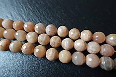 Minerály - Mesačný kameň lososový AB fazetovaný 10mm - 6177677_