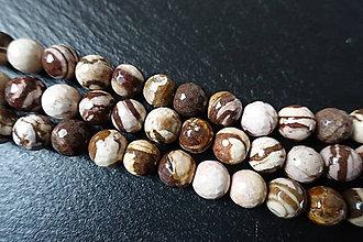 Minerály - Jaspis zebra hnedá fazetovaný 10mm - 6177611_