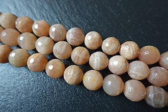 Minerály - Mesačný kameň lososový AB fazetovaný 10mm - 6177675_