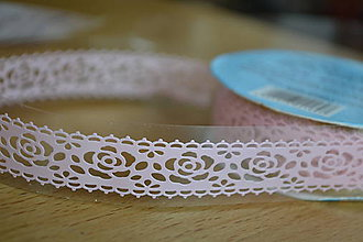 Papier - Samolepiaca čipka ružová, 18mm,  0.90€/ks - 6177774_
