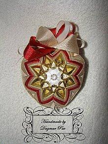 Dekorácie - Srdiečko z lásky, bordovo-zlaté - 6181655_