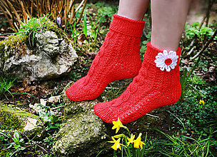Obuv - Červené ponožky - 6181357_