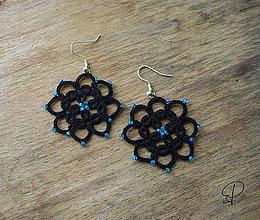 Náušnice - kvetinkové čierne - 6180172_