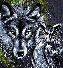 Obrazy - vlk a sova - 6184723_