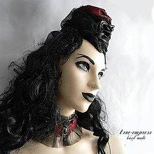 Ozdoby do vlasov - Gotický bordový klobúčik - 6182278_