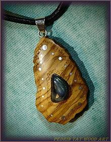 Náhrdelníky - 480. Drevený náhrdelník LABRADORIT - OLIVOVNÍK - 6185010_