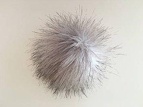 Materiál ručne robený - Bielo-šedý melírovaný brmbolec - 6182754_