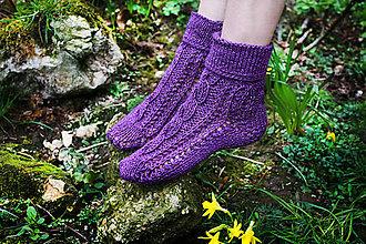 Obuv - Fialové ponožky s trblietkami - 6182755_