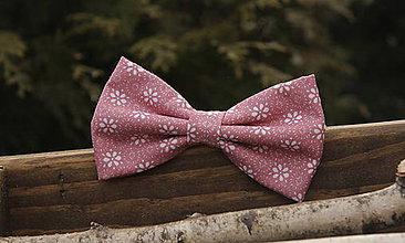 Doplnky - Pánsky motýlik ružový s kvietkami - 6189370_