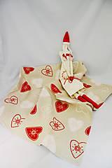 Úžitkový textil - Vianočný obrus so srdiečkami - 6186373_