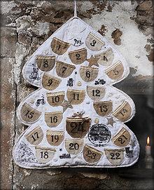 Dekorácie - Vintage adventný kalendár - 6186396_