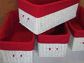 Košíky - Bielo-červené - 6187254_