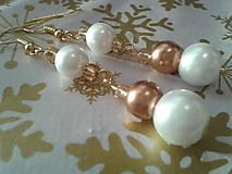 Perlové zlato-biele náušničky