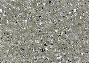 Korálky - Toho Cube TC-03-21 Silver-Lined Crystal, 3mm, bal.10g - 6189532_