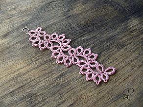 Náramky - ružový frivolitkový - 6188007_