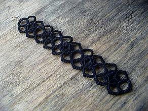 Náramky - čierny frivolitkový - 6188016_