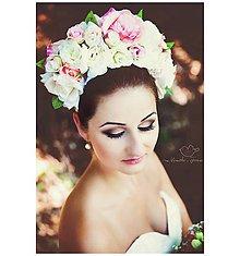 Ozdoby do vlasov - Kvetinová ružová romantická parta:) - 6192424_