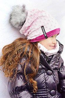 Detské súpravy - zimná súprava s menom a odopínacím brmbolcom Pink&fuchsia ...alebo farbu si vyber! - 6192216_