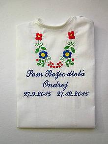 Detské oblečenie - Košieľka na krst K14 - biela bavlna - 6190770_