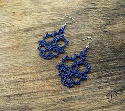 Náušnice - modré korálikové - 6190556_
