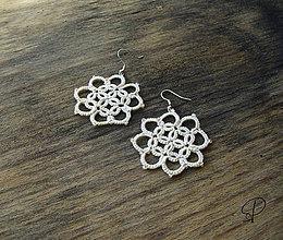 Náušnice - kvetinkové krémové - 6190575_
