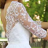 Šaty - Svadobné šaty s holým chrbátom a rukávikom - 6194292_