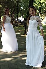 Šaty - Svadobné šaty s holým chrbátom a rukávikom - 6194293_