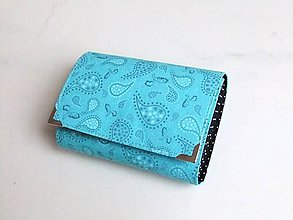 Peňaženky - Tyrkysový kašmír s puntíčkem - malá na více karet - 6192845_