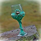 Nádoby - Mentolové ruže - pohár na víno - 6196559_