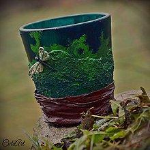 Dekorácie - Vážky v machu - keramická nádoba - 6196804_