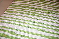 Úžitkový textil - Tkaný koberec do kúpeľne - zelenobiely - 6197467_