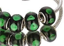 Korálky - PANDORA korálka - čierno zelená - 6199515_